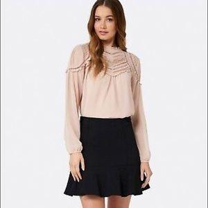 LOFT Black Flounce Skirt